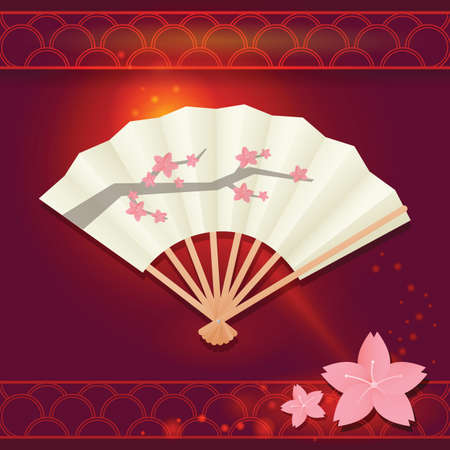 cherry blossom tree: japanese fan with cherry blossom tree
