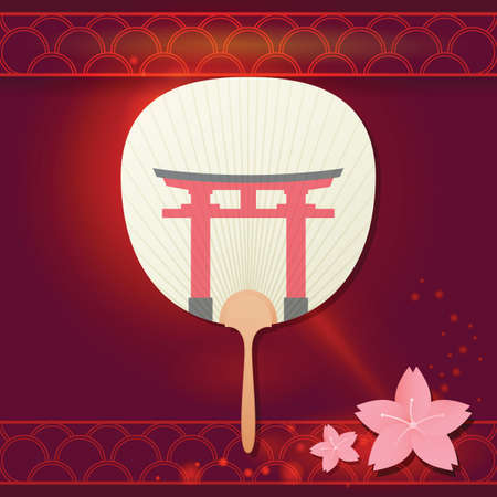japanese fan: japanese fan with temple gate Illustration