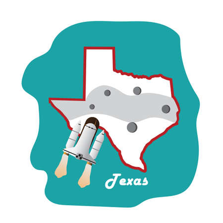 space shuttle: texas state map with space shuttle