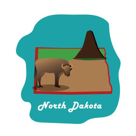 largest: north dakota state map with worlds largest bison Illustration