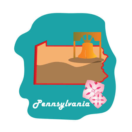 liberty bell: pennsylvania state map with the liberty bell