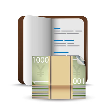 yen note: bank book and money Illustration