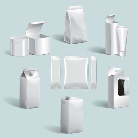 sachets: set of boxes and packages