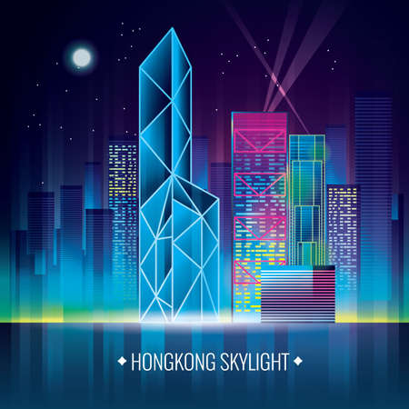 hong kong night: hong kong skylight