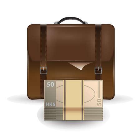 hongkong: briefcase with hong kong currency Illustration