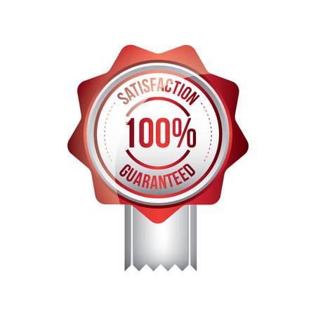 satisfaction guaranteed: 100 satisfaction guaranteed label Illustration