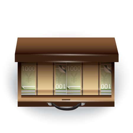 yen note: briefcase with money