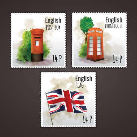 postal: set of english postal stamps