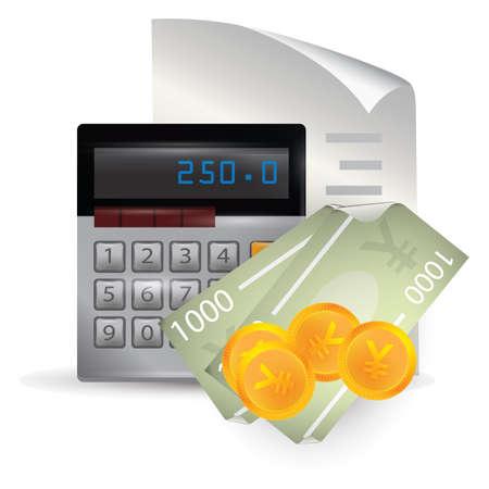 yen note: bill and calculator Illustration