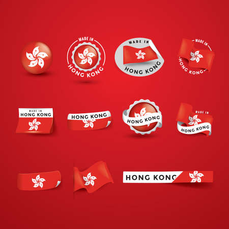 authenticity: collection of hong kong flag icons Illustration