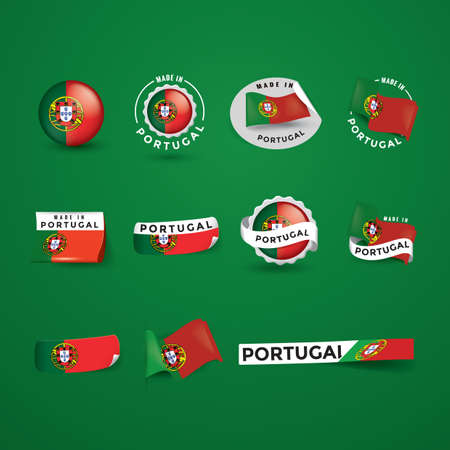made in portugal: collection of portugal flag icons