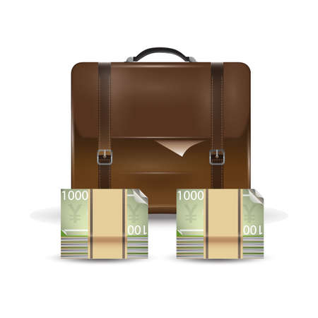 bank notes: briefcase and yen bank notes Illustration