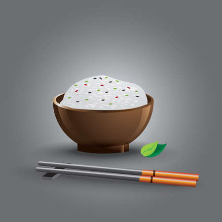 rice bowl: rice bowl with chopsticks Illustration