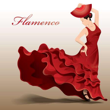 flamenco-danser Stock Illustratie