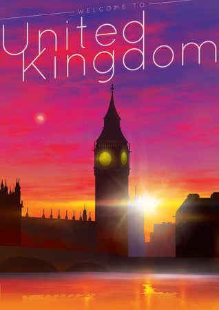 elizabeth tower: welcome to united kingdom poster Illustration