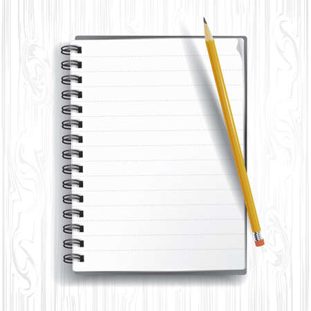 open notebook: spiral notebook with pencil Illustration