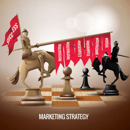 team concept: marketing strategy using chess concept Illustration