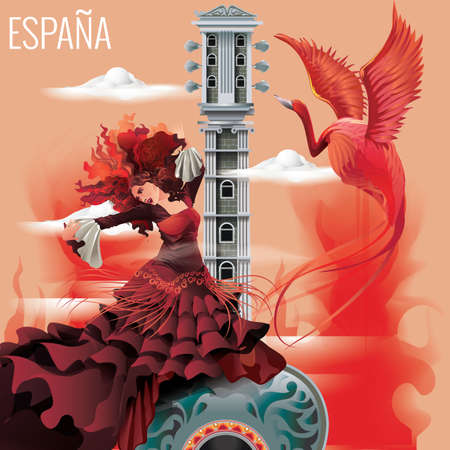 flamenco dress: espana wallpaper Illustration