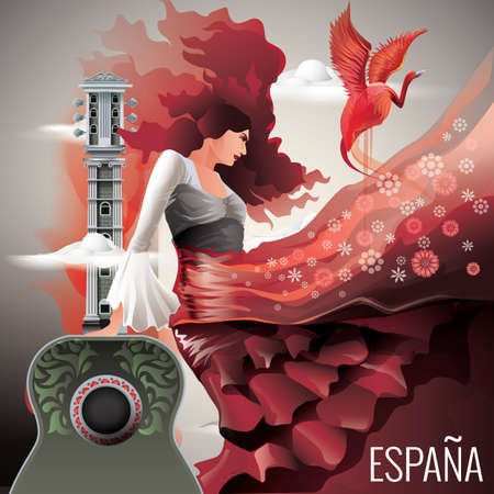 spanish dancer: espana wallpaper Illustration