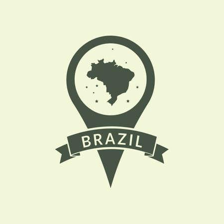brazil map: brazil map pointer Illustration