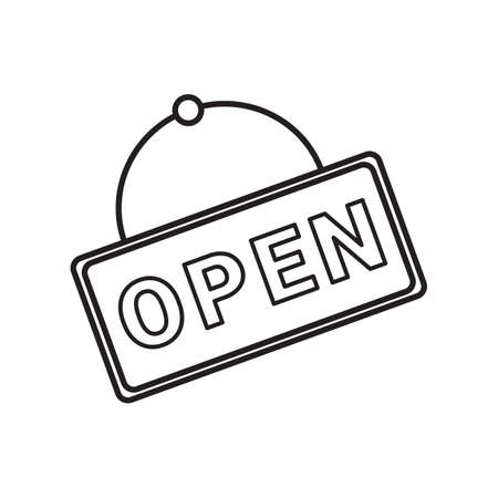 at sign: open sign Illustration