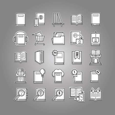 dollar icon: collection of books icons Illustration