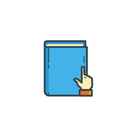 e book: book with hand icon