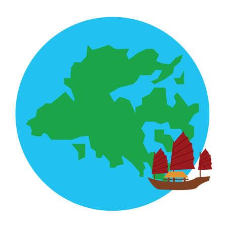 junk boat: hong kong map and junk boat