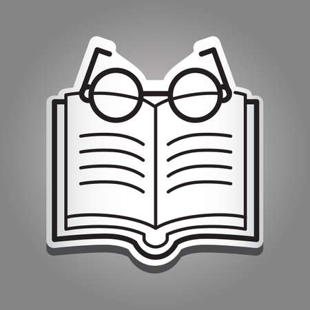 reading glasses: book with reading glasses Illustration