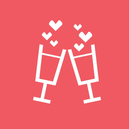 toasting: toasting champagne glasses with hearts