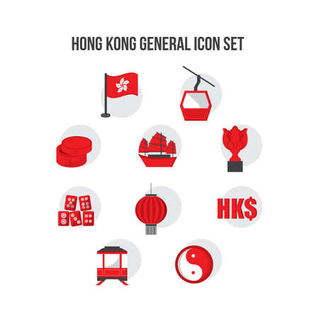 junk boat: honk kong general icon set