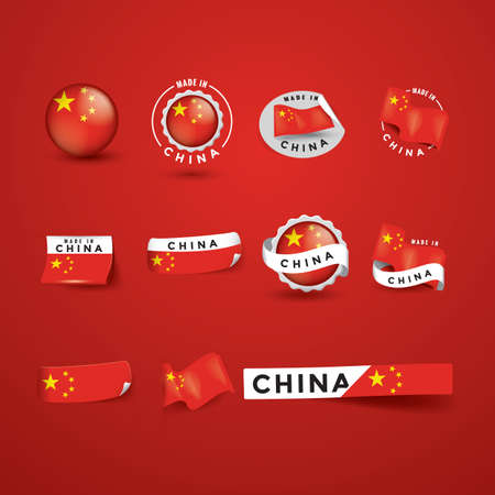 set of made in china labels stickers and banners