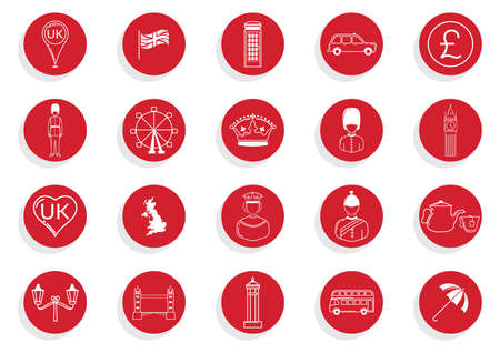 elizabeth tower: set of united kingdom general icons Illustration