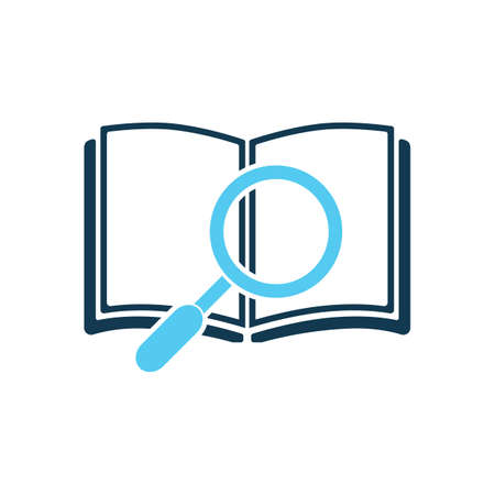 copybook: open book and magnifying glass