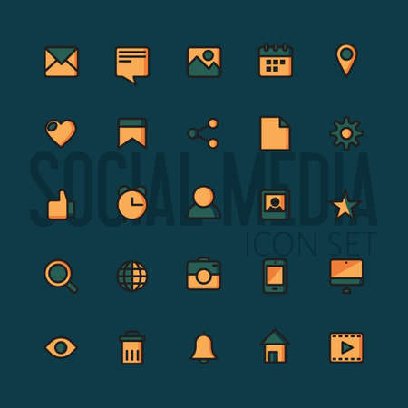 contact icon set: social media icons set