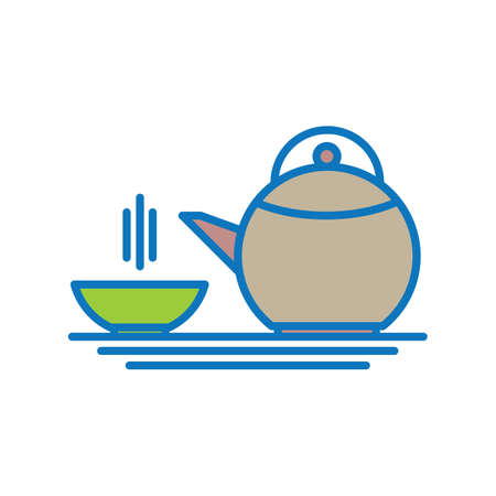 lids: teapot with cup Illustration