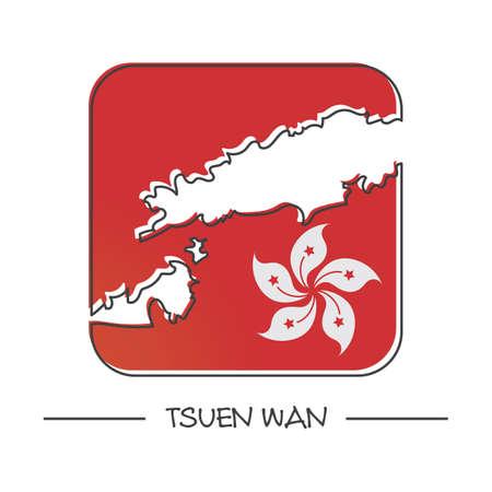 wan: map of tsuen wan Illustration