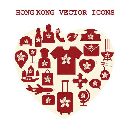 junk boat: hong kong vector icons set