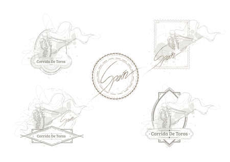 bullfighter: set of spain rubber stamps