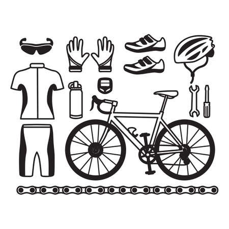 biking glove: collection of cycling equipment