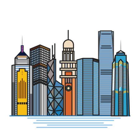 property of china: set of hong kong buildings