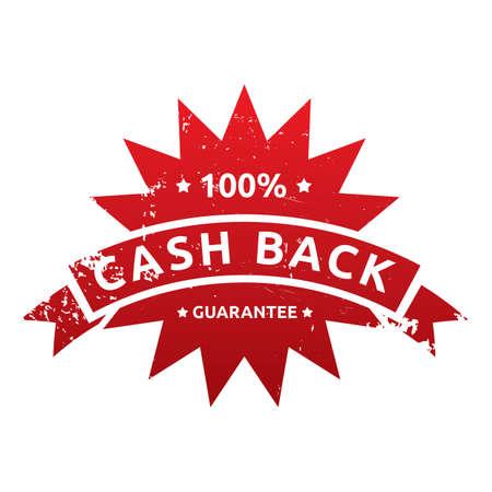 cash back: money back guarantee label Illustration