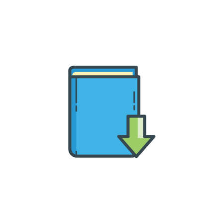 downward: book with downward arrow icon