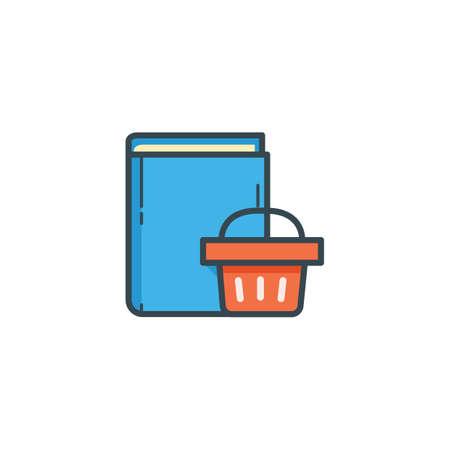 e book: book with shopping basket icon