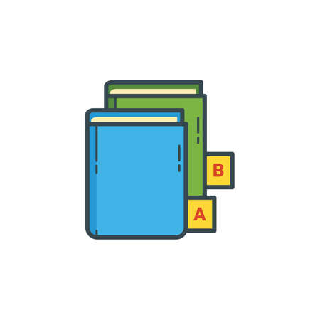 data dictionary: book with alphabet icon