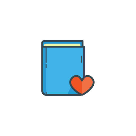 publishes: book with heart icon Illustration