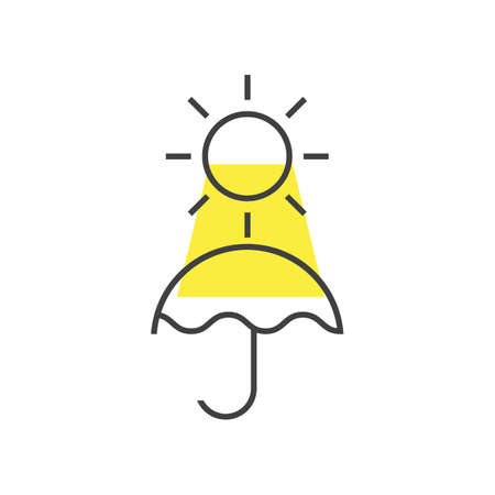 太陽と傘のイラスト。  イラスト・ベクター素材