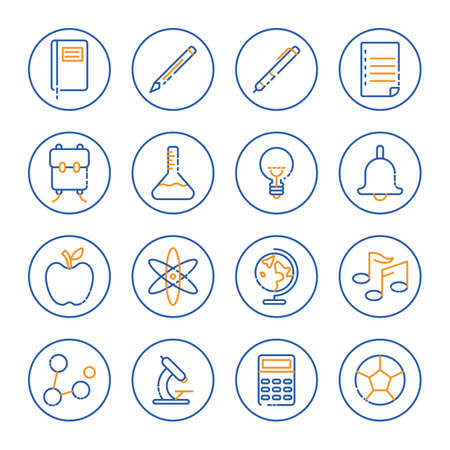 A collection of education icons illustration.