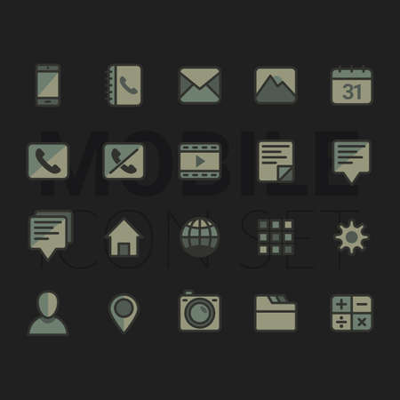 A mobile icon set illustration. Çizim