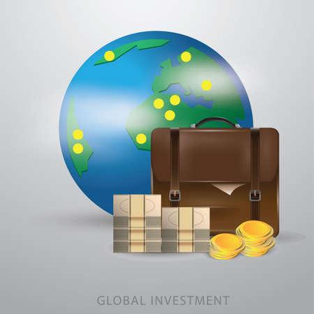 グローバル投資の概念  イラスト・ベクター素材